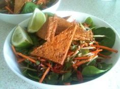Tofu with Asian Slaw.- dairy-free, under 300cal and absolutely delicious