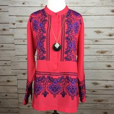 """[J. Crew Factory] Paisley Tunic Kaftan Shirt Boho Long tunic style shirt. Pullover style with half button placket. Wide cuffs with button closure. Looks great with skinnies or shorts. Would even be a cute cover up!  Fabric: 100% Polyester Bust: 20"""" Length: 26"""" Condition: EUC. No flaws. Like new.  No Trades! J. Crew Tops Tunics"""