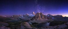 Milky way over Mt. Assiniboine Canada [2048x880] by Timothy Poulton   landscape Nature Photos
