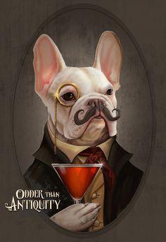 Mortecai la ilustración de Bulldog Francés arte caballero