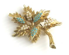 Large vintage brooch in shape of branch with leaves and flowers, turquoise and…