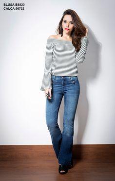 Blusa Black&White, Ref. B8820 Calça Flare Jeans, Ref. 56732
