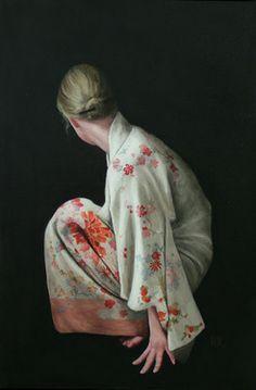 "Saatchi Online Artist Stephanie Rew; Unknown,  ""Floral Kimono Crouching"" #art (Not for sale)"