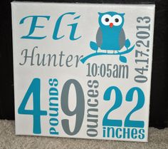 Custom Baby Birth Announcement on Canvas with Owl on a limb on Etsy, $30.00