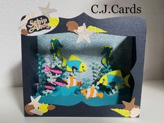Diy Shadow Box, Rena, Fish Crafts, Exploding Boxes, Marianne Design, Kids Cards, Greeting Cards Handmade, New Baby Products, Card Making