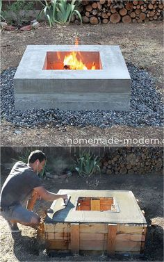 24 Best Fire Pit Ideas to DIY or Buy ( Lots of Pro Tips! ) 24 best outdoor fire pit ideas including: how to build wood burning fire pits and fire bowls, where to buy great fire pit kits, beautiful DIY fire pit tables and coffee tables, creative outdoor f Wood Fire Pit, Fire Pit Grill, Wood Burning Fire Pit, Concrete Fire Pits, Diy Fire Pit, Fire Pit Backyard, Backyard Patio, Backyard Landscaping, Diy Propane Fire Pit