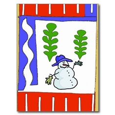 Snowman Season's Greetings Post Cards, use postcards as Christmas greetings. Stamps match cards, cards can add text inside, name sentiments on web. Many more designs available. Unique not sold in stores.