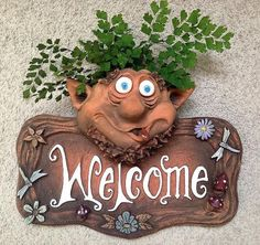 Troll Planter Welcome Plaque with detailed dragonflies and flowers is unique art for home or garden. Ceramic Welcome Sign has Troll Planter, weather-proof and fun Clay Art Projects, Clay Crafts, Ceramic Fish, Ceramic Art, Paper Mache Animals, Pottery Houses, Best Housewarming Gifts, Concrete Crafts, Pottery Studio