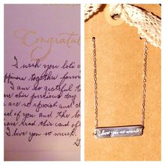 Personalized handwriting bar necklace