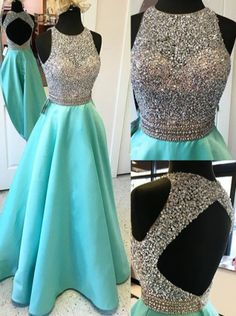 Luxurious A-line Beaded Scoop Long Prom Dress with Open Back