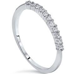 #sears Pompeii3 Ladies .25CT Natural Diamond Band 14K White Gold Wedding Stacker Guard Ring 14KT - $219.99 (save 63%) #pompeii3 #inc #mothersday
