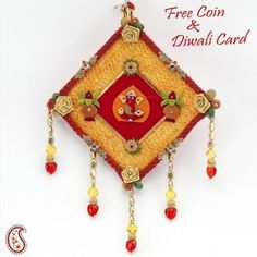 Decorative Wall hanging with Tissues and Crystals  - Online Shopping for Diyas and Lights by Apno Rajasthan