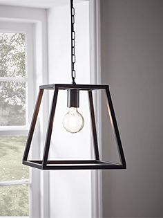 With a black powder coated trapeze shaped frame and an eclectic chain fitting to hang, our bold pendant light will really make a feature of your lighting. Perfect for an industrial style home, it will also add an edge to a more neutral interior. Click here to view our useful lighting buying guide.
