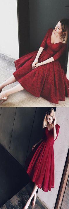 V Neck Half Sleeves Burgundy Lace Homecoming Dress Short Prom Dress