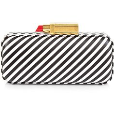 Lulu Guinness Black & White Stripe Carrie Clutch ($320) ❤ liked on Polyvore featuring bags, handbags, clutches, evening purses, crossbody purse, leather crossbody, evening handbags and black and white striped purse