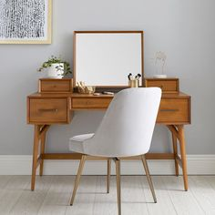 west elm x pbt Mid-Century Vanity Desk Set - diy home - 60s Furniture, Plywood Furniture, Furniture Design, Antique Furniture, Mid Century Modern Vanity, Mid Century Modern Bedroom, Mid Century Modern Furniture, Mid Century Modern Design, Style At Home