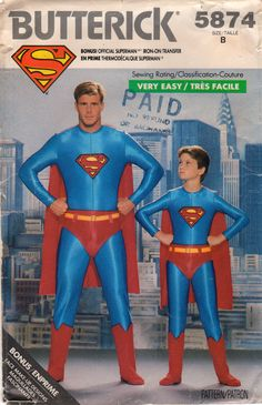 Butterick 5874 Boys SUPERMAN Costume Pattern  Very Easy super hero vintage sewing pattenr by mbchills