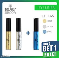 Eyeliners Hilary Rhoda Glitter Eyeliner Combo (Buy 2 Get 1 Free)  Product Name: Hilary Rhoda Glitter Eyeliner Brand Name: Hilary Rhoda  Product Type: Eyeliner Capacity: 8 gm Each Finish Type: Glitter Package Contains: It Has 3 Pack Of Eyeliner Sizes Available: Free Size   Catalog Rating: ★4.1 (3009)  Catalog Name: Free Sample Hilary Rhoda Glitter Eyeliner Combo (Buy 2 Get 1 Free) Vol 8 CatalogID_414367 C178-SC1967 Code: 422-3031009-954