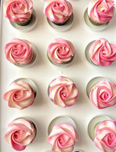 piping buttercream rose swirl on eggless vanilla cupcakes