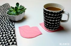 How-To: Kissing Lips and Conversation Hearts Coasters