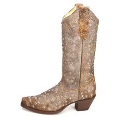 Corral Brown Embroidered and Studded Cowgirl Boots|