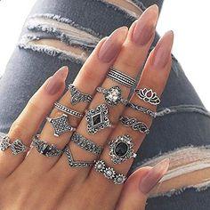 Vintage Chic Bijoux sculptée Knuckle bonne nouvelle Ring fashion Plaqué Argent Rétro