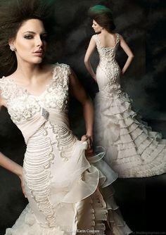 Maria Karin  Couture 2011 bridal gown collection - wedding dress cap sleeve straps  and ruffle train skirt