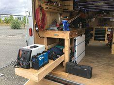 Enclosed job site trailer. Slide out for plasma cutter and welder
