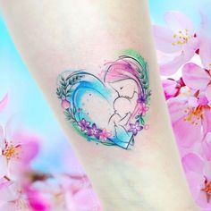 Stunning Watercolor Tattoos by Adrian Bascur - awesome watercolor tattoo for mo. - Stunning Watercolor Tattoos by Adrian Bascur – awesome watercolor tattoo for mothers © tattoo a - Mommy Tattoos, Mom Baby Tattoo, Tattoo Mama, Motherhood Tattoos, Mother Tattoos, Family Tattoos, New Tattoos, Body Art Tattoos, Small Tattoos