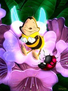 GIF BEE AND FLOWER