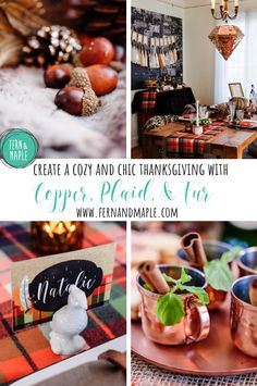 Copper, Plaid, and Fur Thanksgiving- Create a cozy and chic tablescape! #thanksgiving #tablescape #holidayparty #kidstable #thanksgivingtable