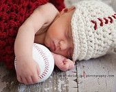 My husband has already begged for a little baseball hat like this for our baby boy!