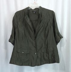 Womens Plus LANE BRYANT Sheer Green ¾ Roll Tab Sleeves Linen Top Jacket, Size 22 #LaneBryant #Blouse #CareerCasual