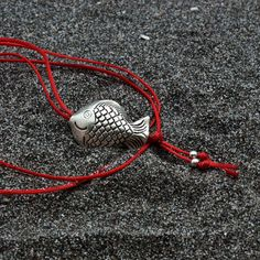 Fish Necklace Long Red Thread Necklace Sterling by AllAboutSeas Greek Sea, Sea Jewelry, Black Oxide, Black Thread, Pisces Zodiac, Necklace Lengths, Jewelry Collection, Fish, Sterling Silver
