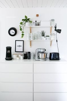 Our new home {kitchen} - three kinds of love - Best Interior Design Ideas Coffee Bar Home, Coffee Corner, White Ikea Kitchen, Scandinavian Home, Kitchen Cupboards, Interior Design Inspiration, Home Kitchens, Kitchen Decor, Sweet Home