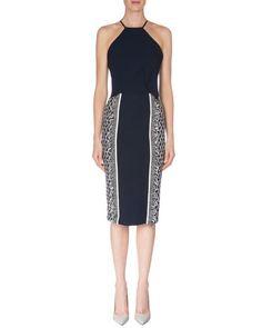 Roland Mouret Capsule Collection Flutter-Front Dress W/Fringe, Navy/White