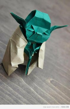 YODA ORIGAMI- this one is different from the origami Yoda that I've made before. Will have to learn how to make him!