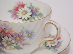 Aynsley Fine Bone China Tea Cup and Saucer by TheVintageFind1, $28.00
