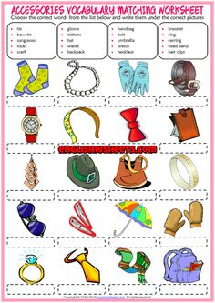 Accessories ESL Vocabulary Matching Exercise Worksheet