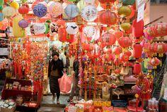 Lanterns, ornaments and souvenirs on sale in traditional Graham Street market, Sheung Wan, Hong Kong, China - Photo by Tim Graham