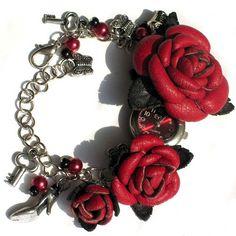 Assista Pulseira com rosas de couro / Acessórios (não de jóias) / vestuário elegante da moda e alterações de interiores