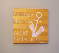 "Nautical Anchor Footprint Canvas Art and Print Kit, Stripe, Any Color, Hebrews 6:19, 12x12"", by SnowFlowerArts"