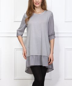 Look what I found on #zulily! Gray Roll-Tab Sleeve Hi-Low Tunic #zulilyfinds