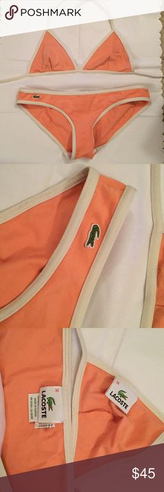 Lacoste bikini Gently worn creamy/creamsicle orange color bikini that ties around the neck and back. No padding on the tap and a textured material. Super cute style. Size 36 which would fit a small to medium Lacoste Swim Bikinis