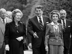 President Ronald Reagan And wife Nancy with then Prime Minister Margaret Thatcher