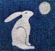 Hare And Moon 14 embroidered artworkstitched by ImagineNorth