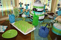 Birthday party idea: blues, greens, chevron print, mustaches, etc love the letter cookies!
