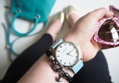 anchor & crew bracelet jewellery moschino time for art melting clock watch  fwis from where I stand photo fashion blog blogger  shore projects watch blue strap pink glitter miu miu sunglasses