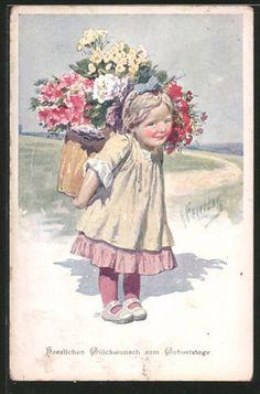 Artiste-AK-Karl-jour-ferie-fille-porte-un-Kiepe-plein-de-fleurs-sur-le-marche