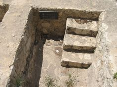 A century AD mikvah (ritual bath), located south of the Temple Mount at the base of the Double Gate stairs. East To East, Israel, Day Of Pentecost, Temple Mount, Ritual Bath, Archaeological Finds, Garden Of Eden, Ancient Ruins, Holy Land